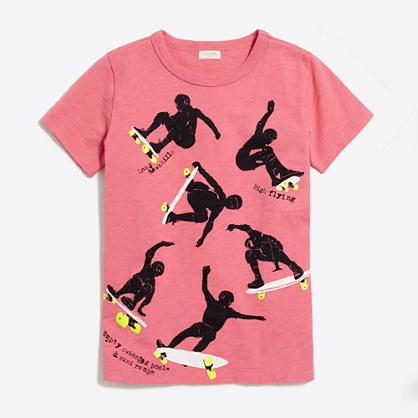 Boys' glow-in-the-dark skateboard tricks storybook T-shirt