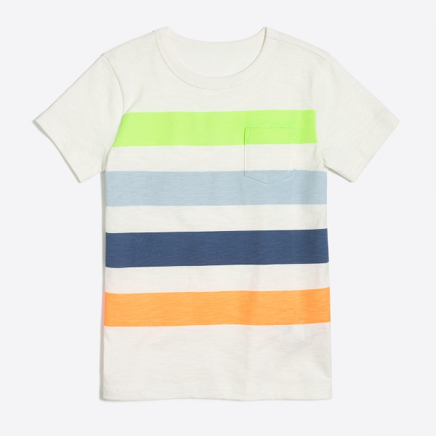 Boys' multicolor placed-stripe T-shirt