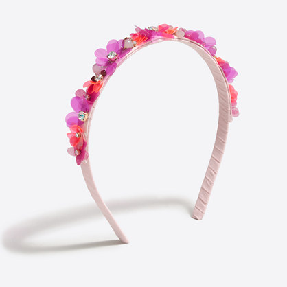 Girls' flower and crystal headband