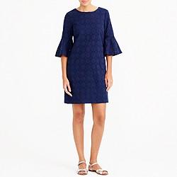 Bell-sleeve eyelet dress