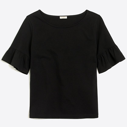 Ruffle-sleeve T-shirt