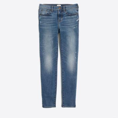 "Paint-splatter skinny jean with 28"" inseam"