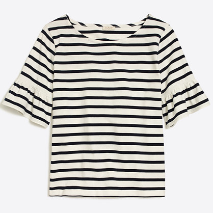 Striped ruffle-sleeve T-shirt