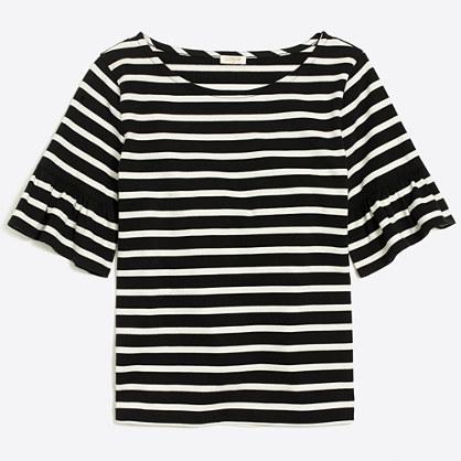 Striped ruffle-sleeve T-shirt