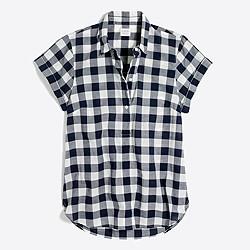 Gingham short-sleeve popover shirt