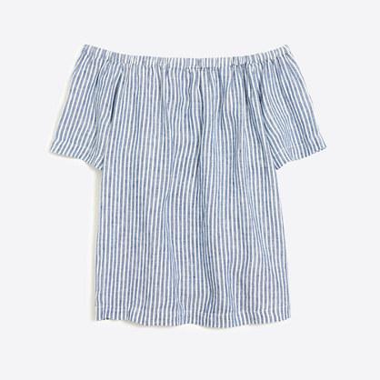 Striped linen off-the-shoulder top