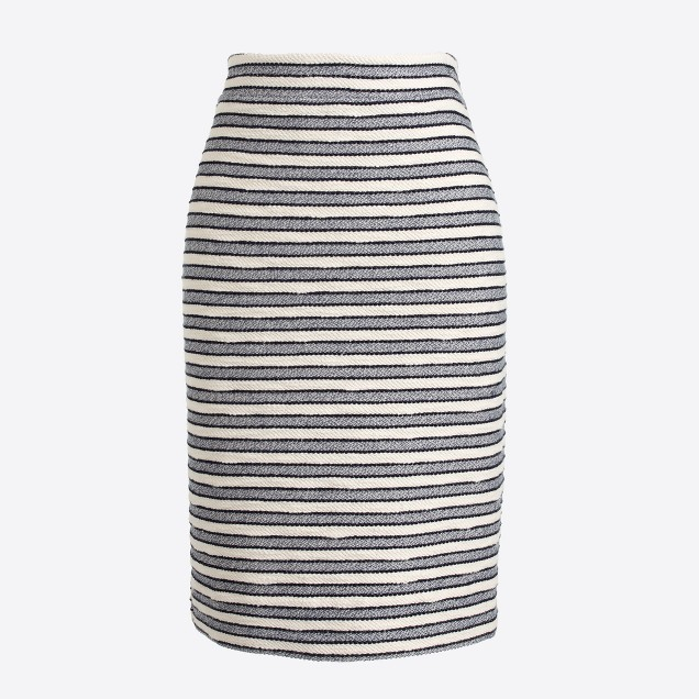 Striped terry pencil skirt