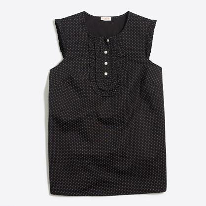 Printed sleeveless ruffle shirt