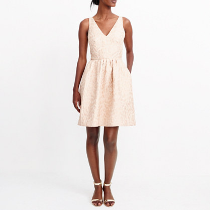 Flared V-neck jacquard dress
