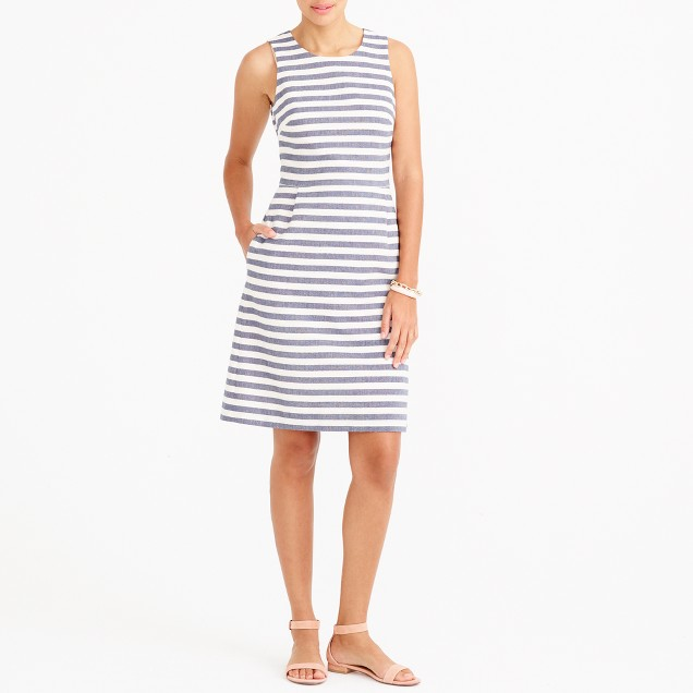Striped pleated shift dress