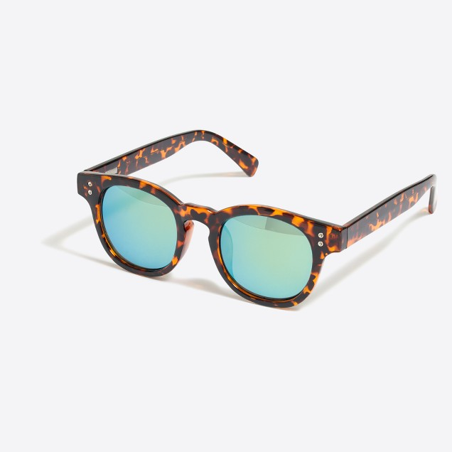 Mirrored-lense tortoise sunglasses