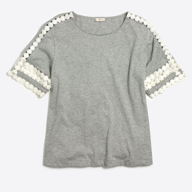 Eyelet-sleeve T-shirt