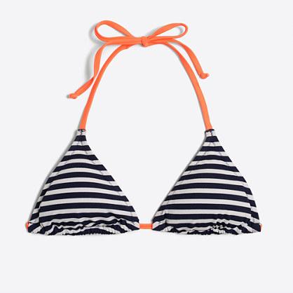Striped neon string bikini top
