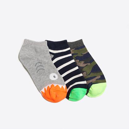 Boys' glow-in-the-dark shark ankle socks three-pack