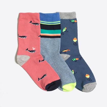 Boys' whale trouser socks three-pack