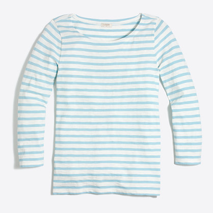 Striped three-quarter sleeve T-shirt