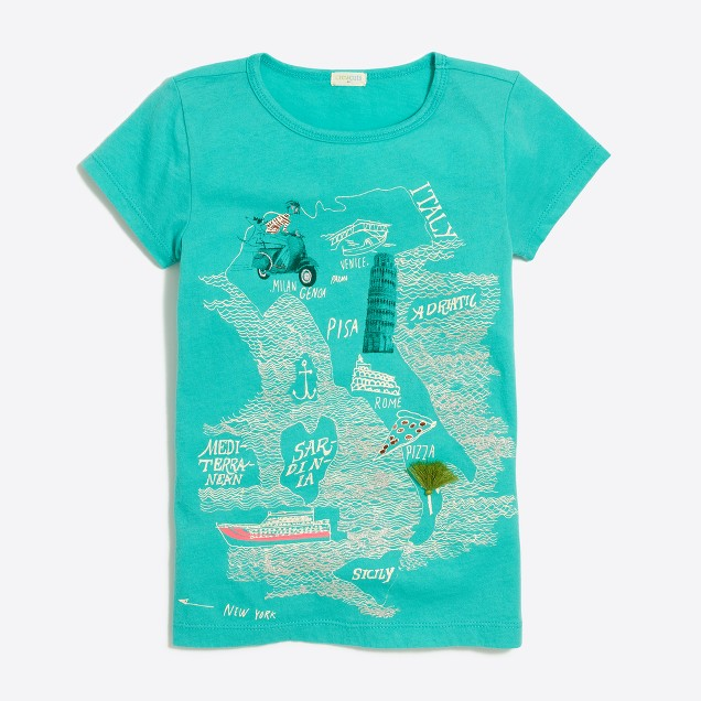 Girls' Italy map keepsake T-shirt