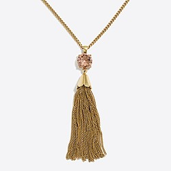 Gemstone tassel pendant necklace