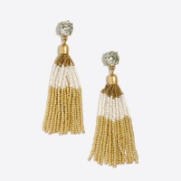 Two-tone beaded tassel earrings