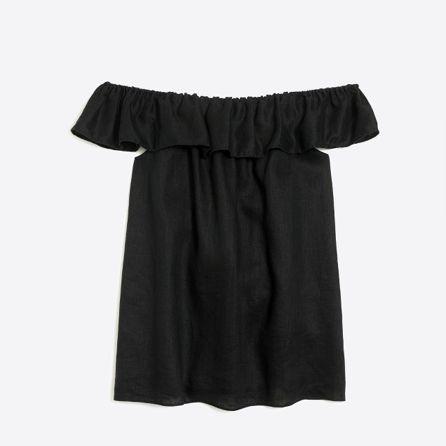 Ruffle linen off-the-shoulder top