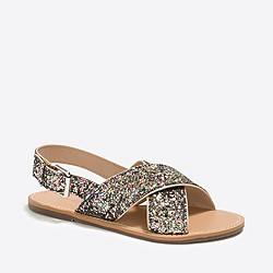 Girls' glitter sandals
