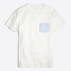 Slim striped pocket T-shirt in oxford