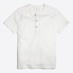 Short-sleeve garment-dyed henley