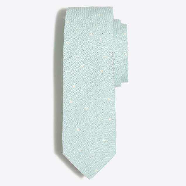 Scattered dot cotton-linen tie