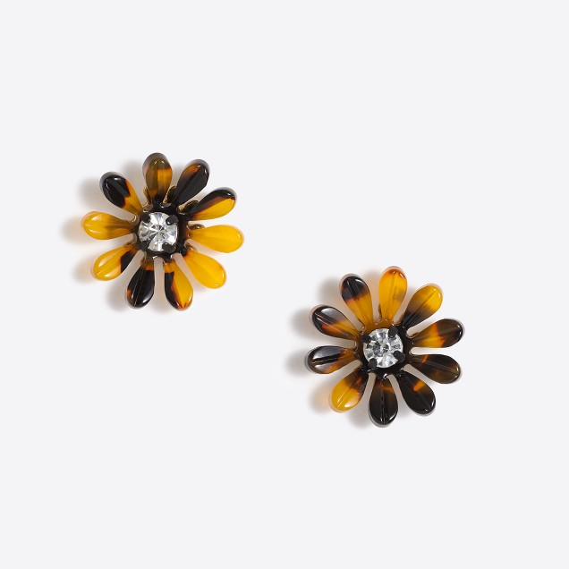 Tortoise daisy earrings