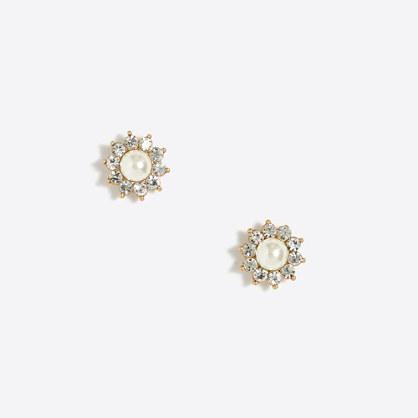 Pearl sunburst stud earrings