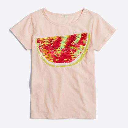 Girls' sequin watermelon keepsake T-shirt