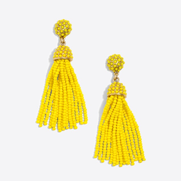Dot drop tassel earrings