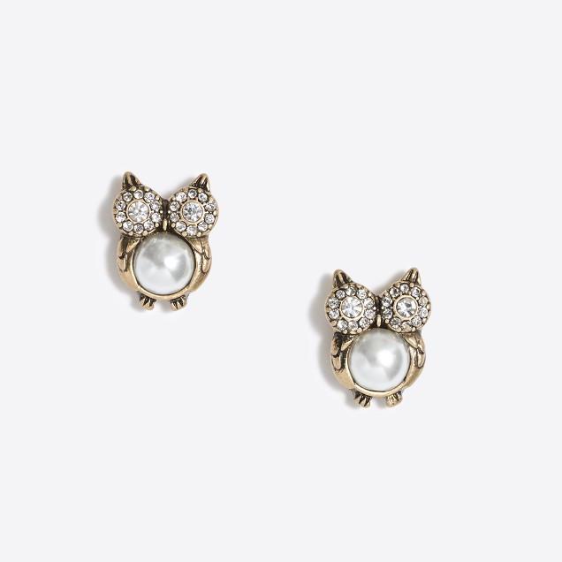 Pearl owl earrings