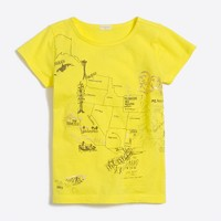 Girls' USA map graphic keepsake T-shirt