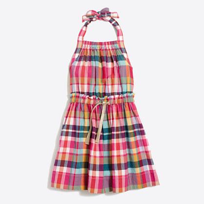 Girls' summer plaid dress