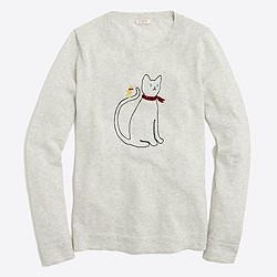 Embroidered cat in bandana Teddie sweater