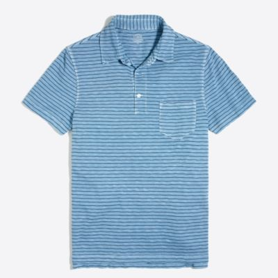 Striped sunwashed garment-dyed polo shirt