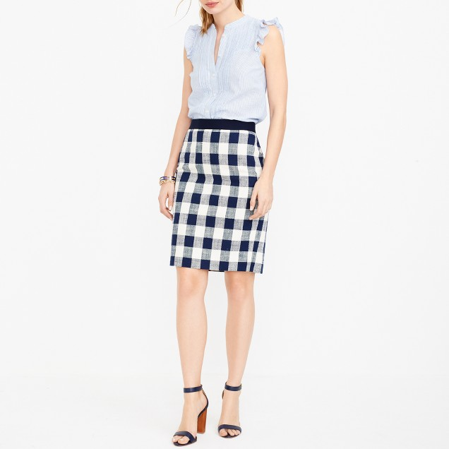 Pencil skirt in cotton-linen tweed