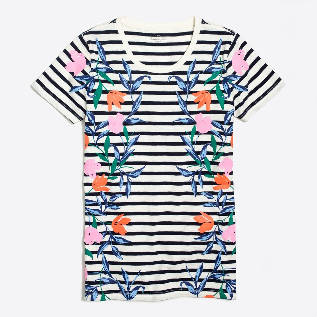 Striped flower collector T-shirt
