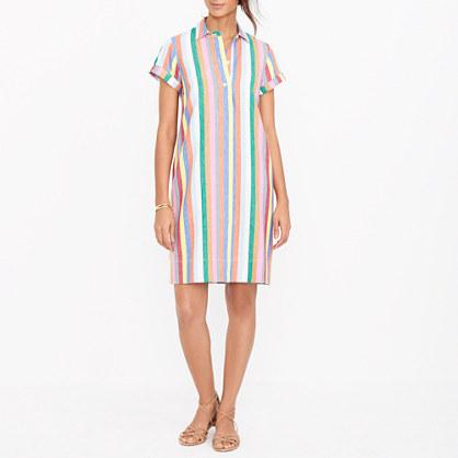 Colorful stripe shirtdress