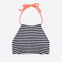Halter bikini top in classic stripe print