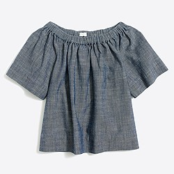 Girls' short-sleeved chambray ruched top