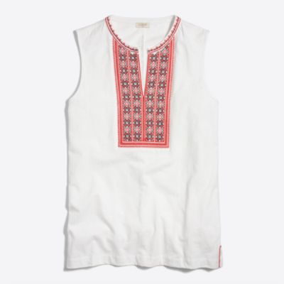 Embroidered placket tank top   sale