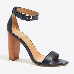 Leather chunky-heel sandals