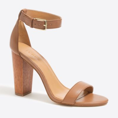 Leather chunky-heel sandals : FactoryWomen Heels | Factory