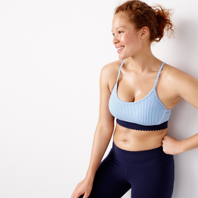 New Balance® for J.Crew scalloped performance sports bra in stripe