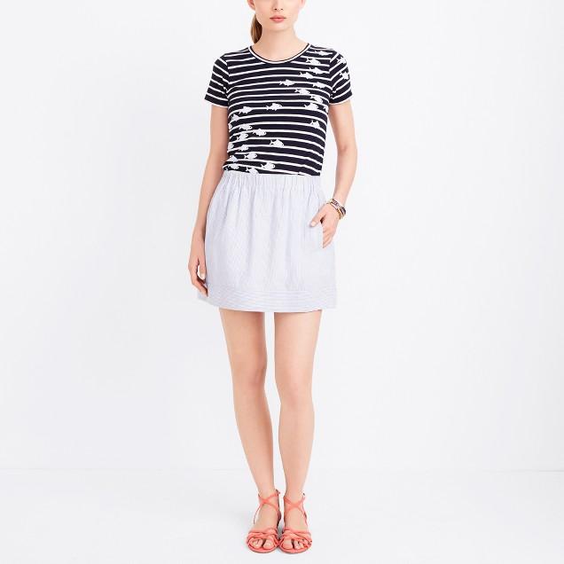 Striped linen-cotton skirt