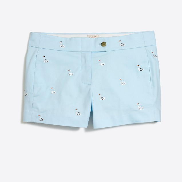 """3"""" embroidered critter chino short"""