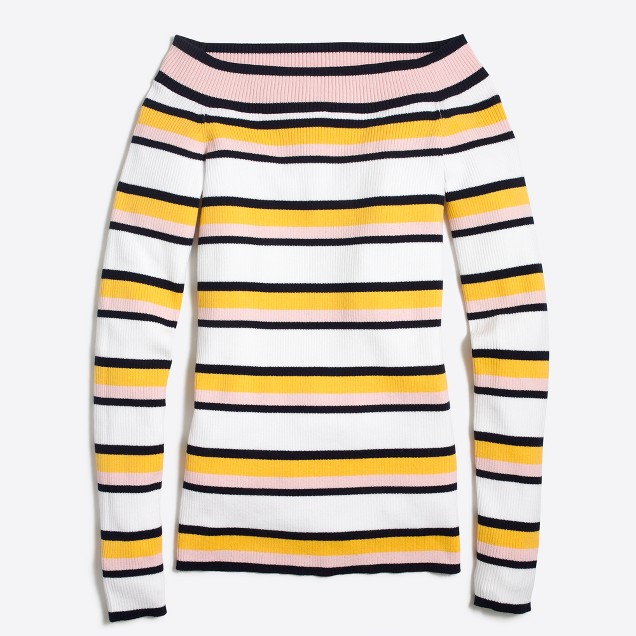 Striped off-the-shoulder sweater : FactoryWomen Pullovers   Factory