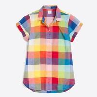 Mixed-gingham shirt
